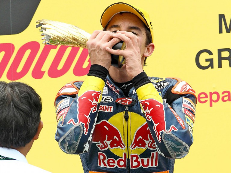 Marc Marquez on the podium at Sepang