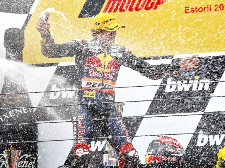 Marc Marquez on the podium at Estoril