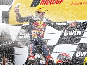 Marc Marquez on the podium at Estoril