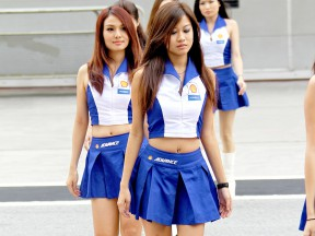 Paddock girls at the Shell Advance Malaysian Motorcycle Grand Prix