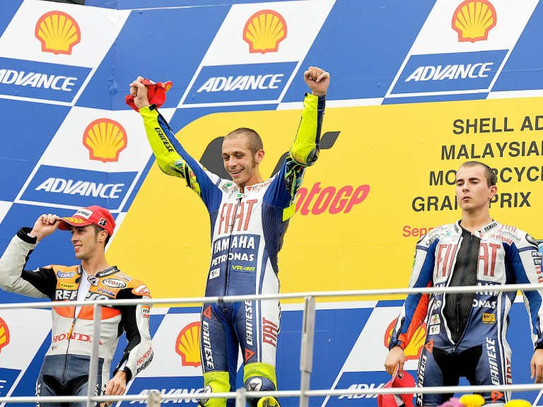 Dovizioso, Rossi and Lorenzo on the podium at Sepang