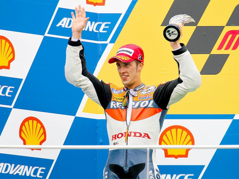 Andrea Dovizioso on the podium at Sepang