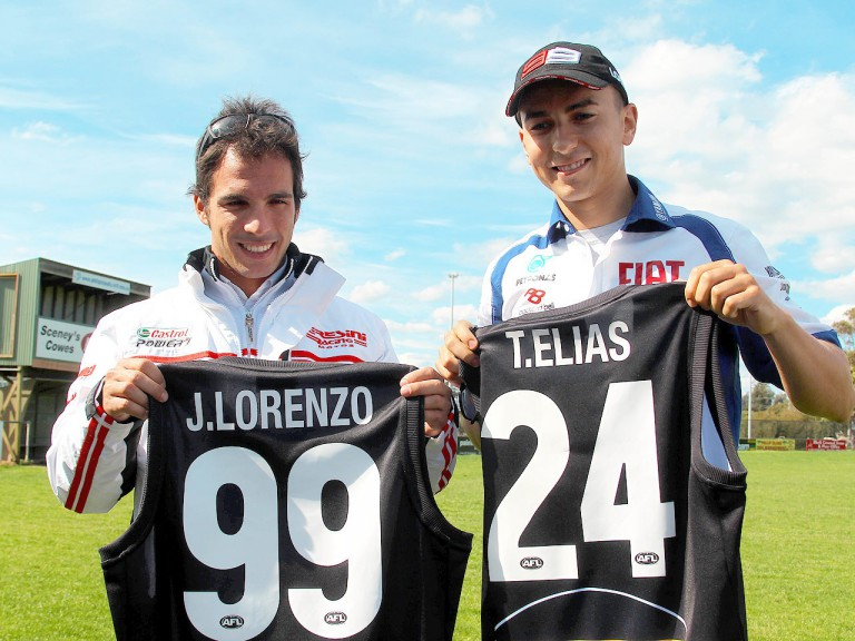 2010 Moto2 and MotoGP World Champions Toni Elías and Jorge Lorenzo at Phillip Island Football Club