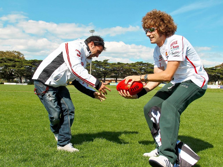Toni Elias and Marco Simoncelli at Phillip Island Football Club