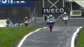 Bradley Smith topped the first 125cc practice at the Iveco Australian Grand Prix as extreme weather conditions at Phillip Island delayed the start of the day's programme. Championship leader Marc Márquez and British youngster Danny Kent completed the top three.