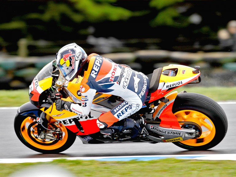 Dani Pedrosa in action at Phillio Island