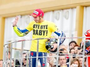 Valentino Rossi on the podium in Valencia