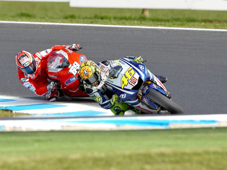 Rossi riding ahead of Hayden at Phillip Island