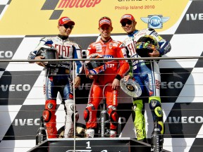Lorenzo, Stoner and Rossi on the podium at Phillip Island