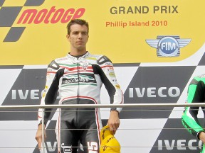 Alex de Angelis on the podium at Phillip Island