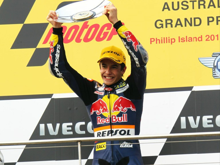 Marquez on the podium at Phillip Island