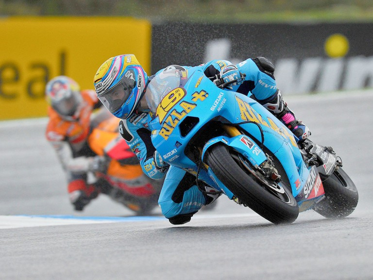Álvaro Bautista in action during FP3 at Estoril