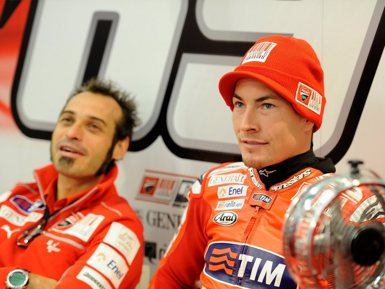 Nicky Hayden and Vittoriano Guareschi in the Ducati garage