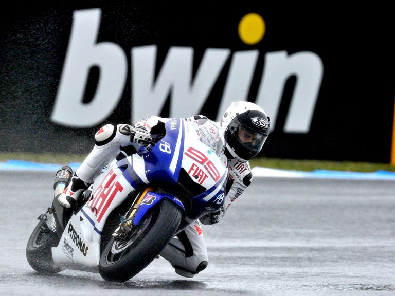 Jorge Lorenzo in action during FP3 at Estoril