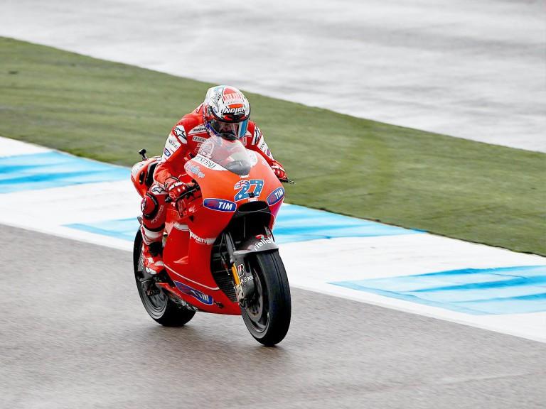 Casey Stoner in action during FP3 at Estoril