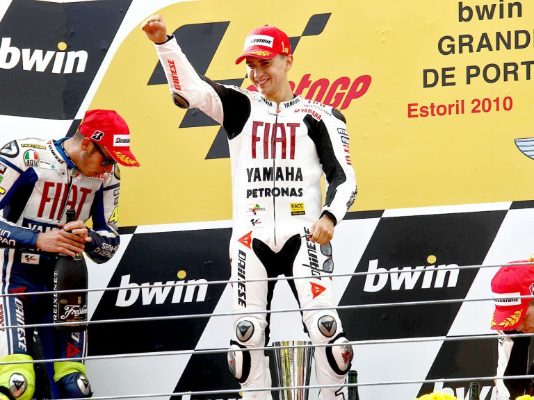 Jorge Lorenzo on the podium at Estoril