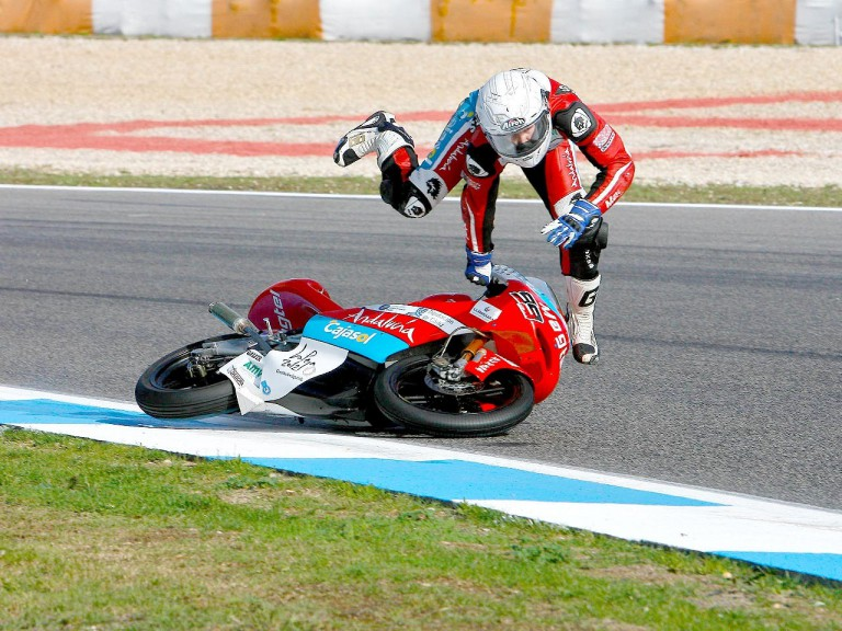 Danny Webb crashes during Warm Up at Estoril