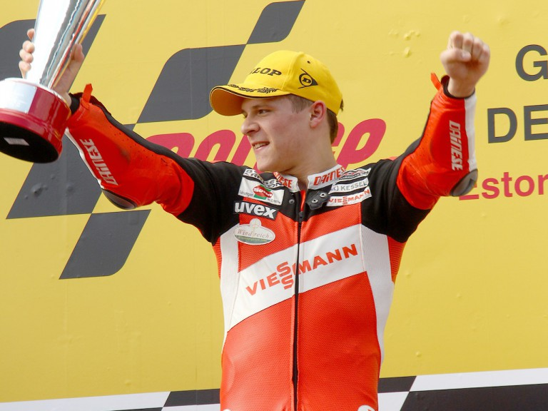 Stefan Bradl on the podium at Estoril