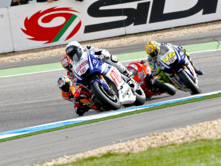 Lorenzo riding ahead of MotoGP group at Estoril