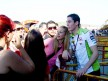 Aleix Espargaró attending fans at the paddock in Valencia