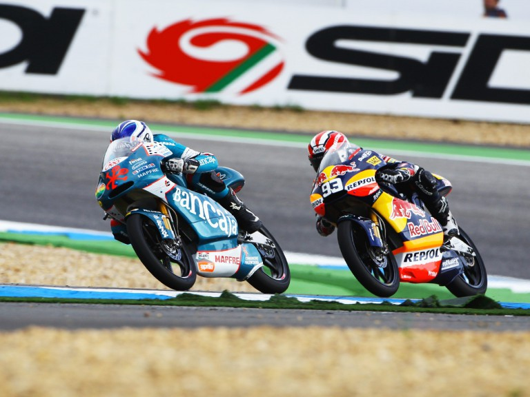 Nico Terol and Marc Marquez riding head to head at Estoril