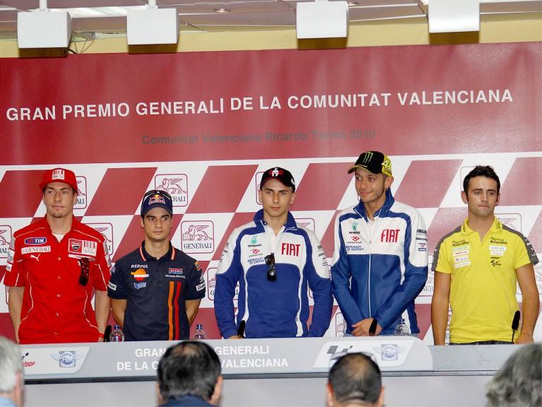 MotoGP riders at the Gran Premio Generali de la Comunitat Valenciana