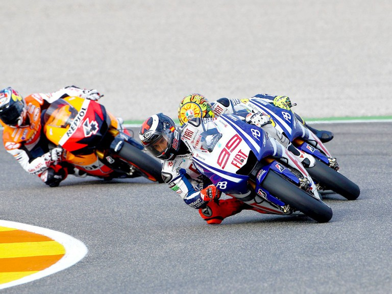 Lorenzo riding ahead of Rossi in Valencia