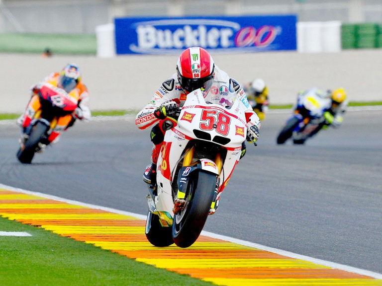 Marco Simoncelli in action in Valencia