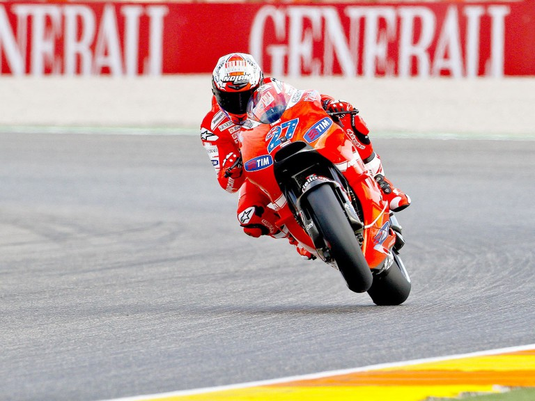 Casey Stoner in action in Valencia