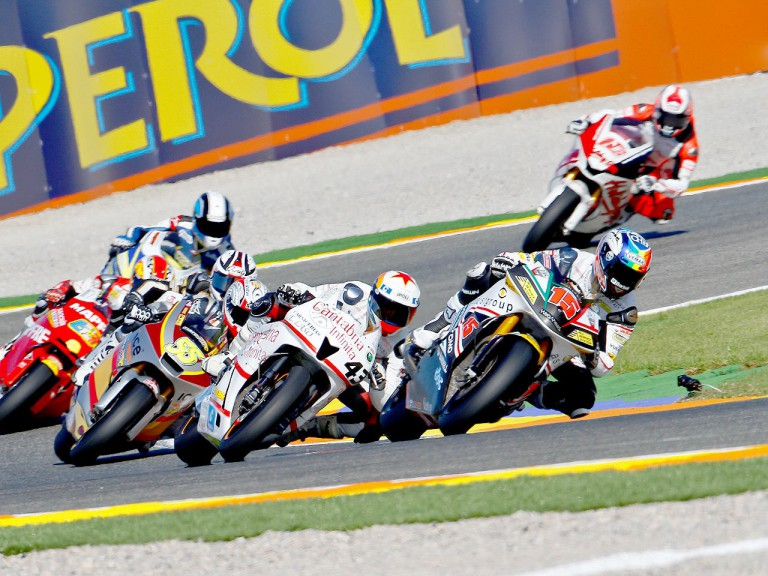 Moto2 group in action in Valencia