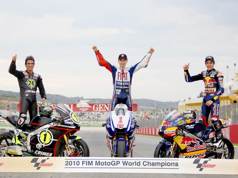 2010 MotoGP, Moto2 and 125cc World Champions Jorge Lorenzo, Toni Elías and Marc Márquez