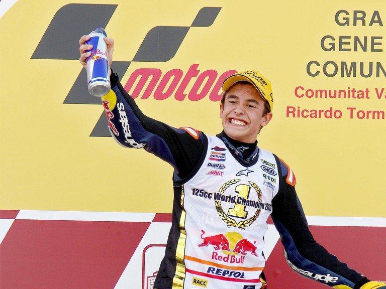 125cc World Champion Marc Marquez ion the podium in Valencia