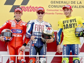Stoner, Lorenzo and Rossi on the podium in Valencia