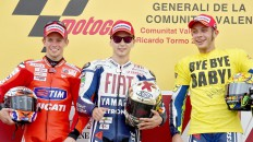Stoner, Lorenzo and Rossi on the podium in Valencia