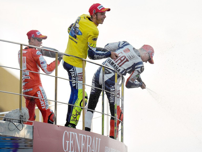 Stoner, Rossi and Lorenzo on the podium in Valencia