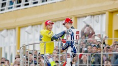 Valentino Rossi and Jorge Lorenzo on the podium in Valencia