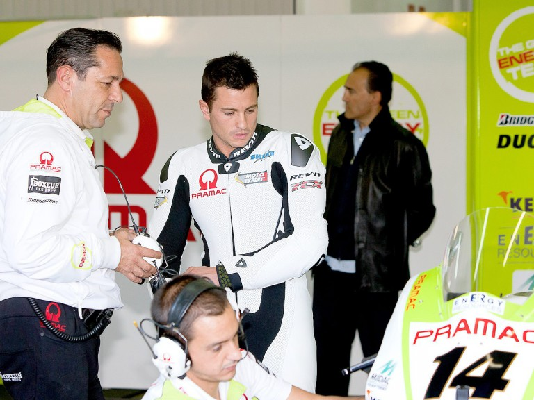 Randy de Puniet in the Pramac Racing Team garage at the Valencia test
