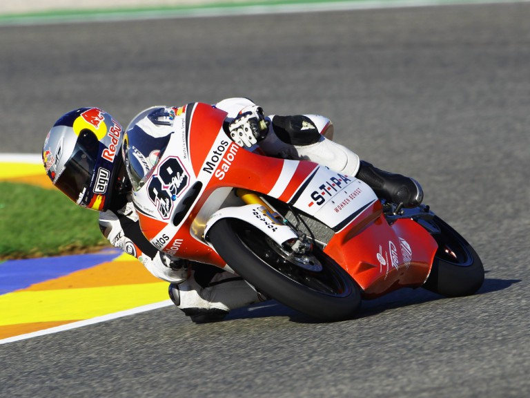 Luis Salom in action at the Valencia GP