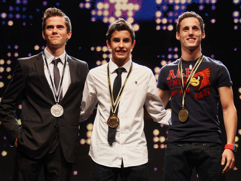 Terol, Marquez and Espargaro at the 2010 FIM Award Ceremony