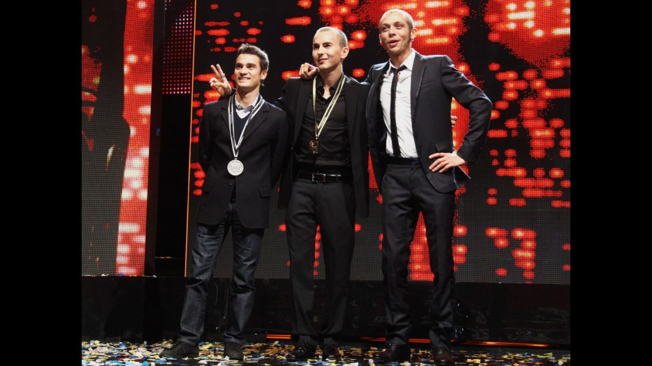 Pedrosa, Lorenzo and Rossi at the 2010 FIM Awards Ceremony