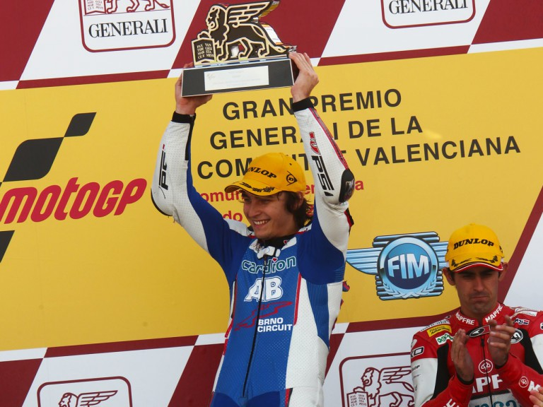 Karel Abraham on the podium in the Valencia GP