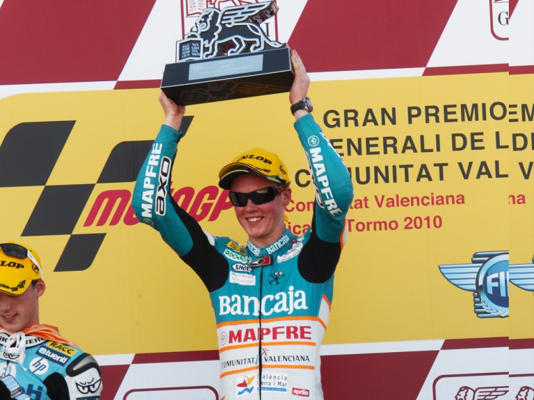 Bradley Smith on the podium in the Valencia GP