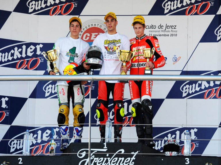 Maverick Viñales, Miguel Oliveira and Niklas Ajo at the podium at the Jerez CEV