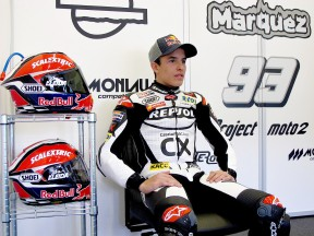 Marc Marquez in the garage at the Jerez test