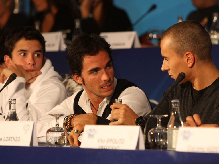 2010 World Champions Marc Marquez, Toni Elias and Jorge Lorenzo at the FIM Gala Award Ceremony Press Conference