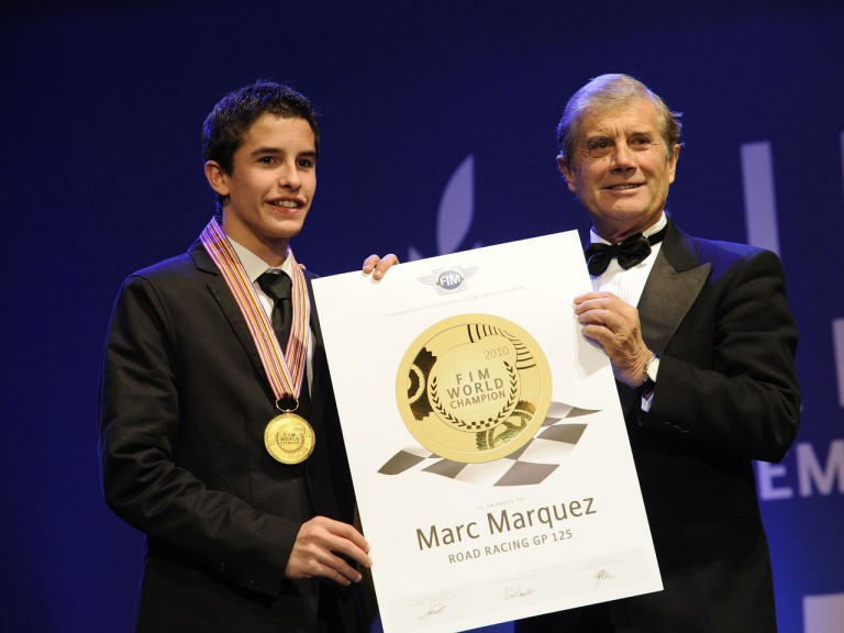 Marc Marquez and Giacomo Agostini at the FIM Gala in Estoril