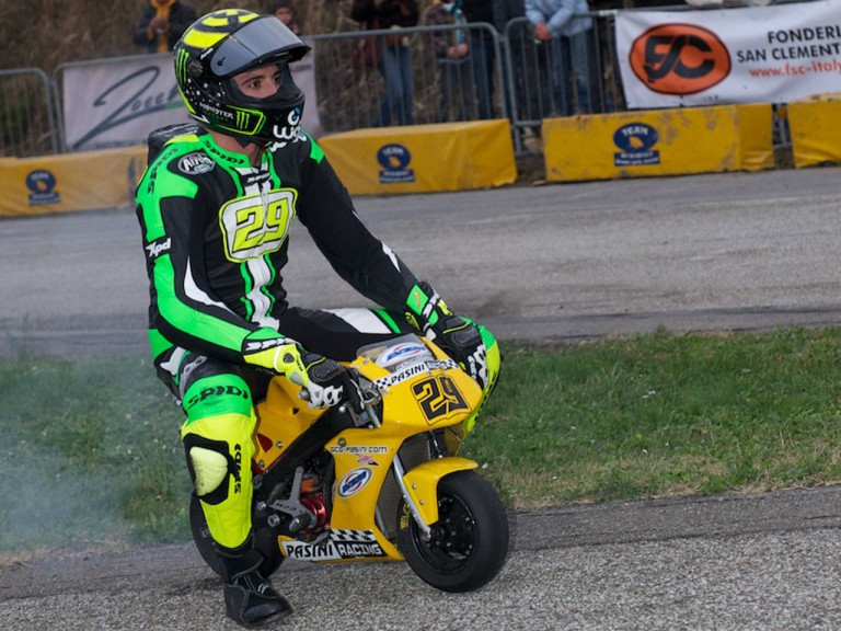Andrea Iannone set to take part in a pocket-bike race