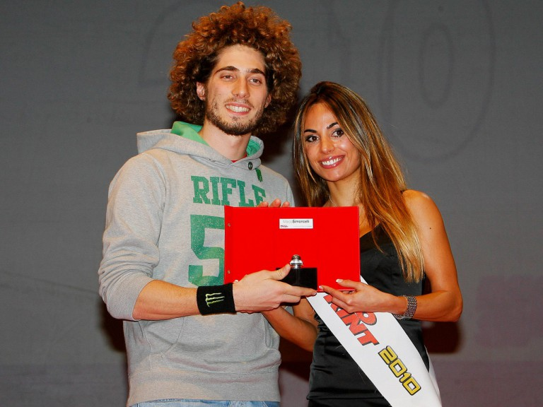 Marco Simoncelli being awarded at the Caschi d'Oro event