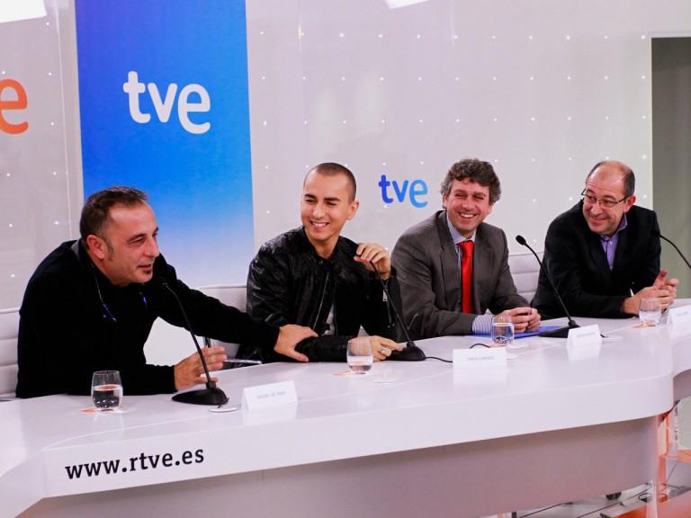 Eugeni de Haro, Jorge Lorenzo, TVE Director Santiago González and Dorna Managing Director Manel Arroyo