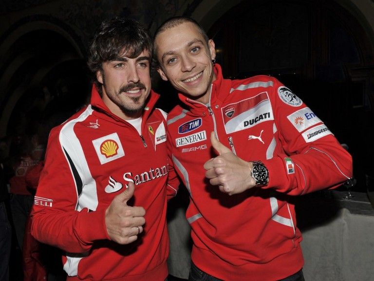 Rossi with Alonso at Wrooom 2011